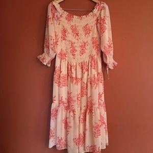 NWT Eliza J boho floral smocked midi dress size 12